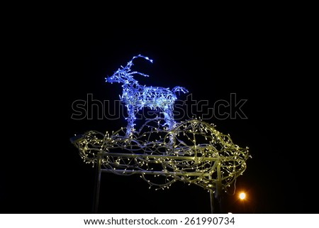 night lights at the front of the deer Christmas lights - stock photo