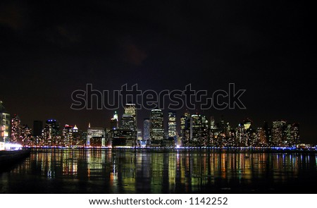 Night lights of Manhattan from New Jersey - stock photo