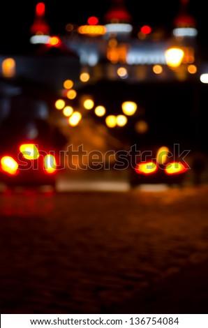 Night lights of old city. - stock photo