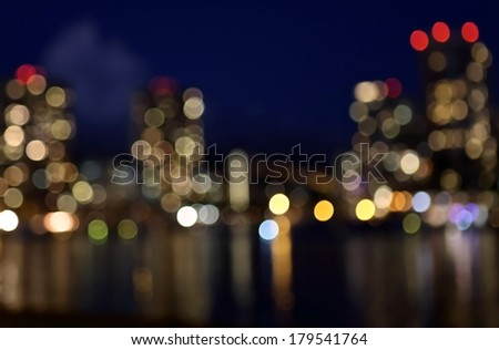 Night lights of the city, nightlife, vector abstract background.   - stock photo