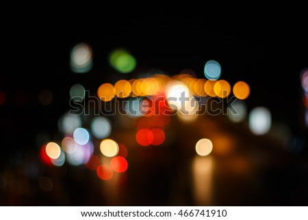 Night lights on the road ,beautiful bokeh colorful