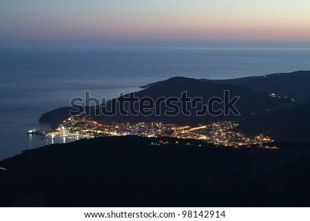 Night long exposure shoot Montenegro - stock photo