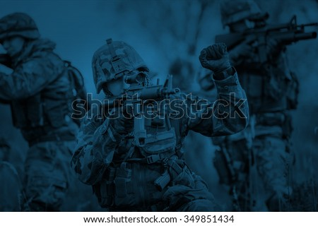 night mission/operation hostage rescue.view through the night vision scope - stock photo