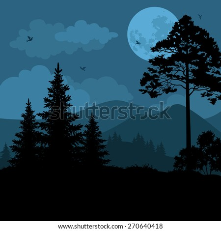 Night Mountain Landscape, Trees, Moon and Birds. Element of this Image Furnished by NASA, WWW.Visibleearth.Nasa.Gov.  - stock photo