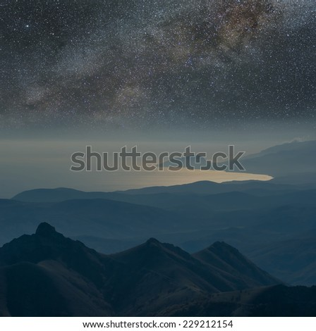 night mountain scene - stock photo