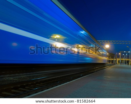 night moving blue train - stock photo