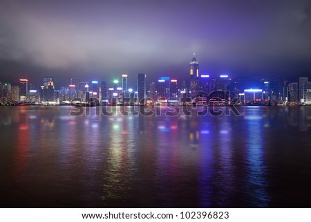 Night mysterious view of foggy Hong Kong skyline