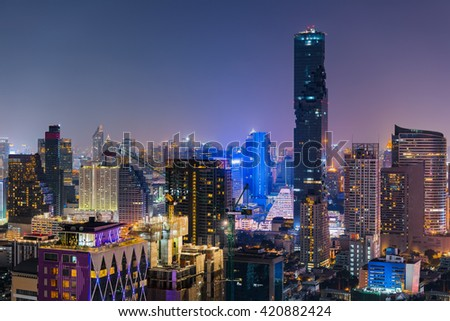 Night of Bangkok city of Thailand.