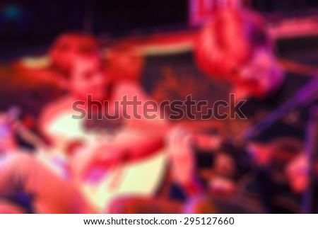 Night of flamenco dancing in a club blur background with shallow depth of field bokeh effect - stock photo