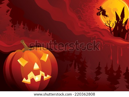 Night of Halloween. Background of fantastic halloween landscape with Jack O' Lantern - stock photo