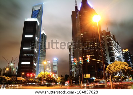 Night of Shanghai Lujiazui - stock photo