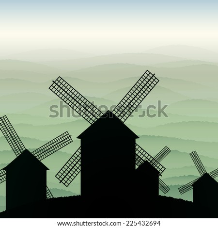 Night of the mill among the misty hills - stock photo