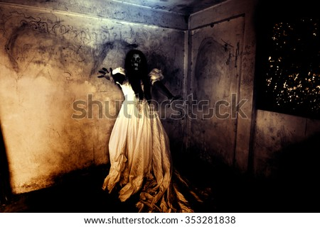 Night of the Revenge,Ghost in Haunted House,Mysterious Woman in White Dress Standing in Abandon Building,Horror Background For Halloween Concept and Book Cover Ideas  - stock photo