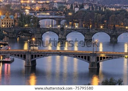 night on Prague - stock photo