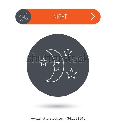 Night or sleep icon. Moon and stars sign. Crescent astronomy symbol. Gray flat circle button. Orange button with arrow.