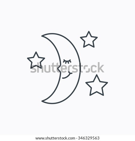 Night or sleep icon. Moon and stars sign. Crescent astronomy symbol. Linear outline icon on white background.