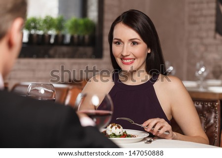 Night out at the restaurant. Mature couple having lunch at the restaurant - stock photo
