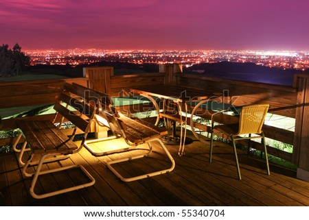 Night outdoor restaurant in Taiwan - stock photo