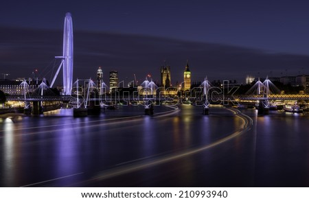Night over the Thames river, London, United Kingdom - stock photo
