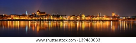 Night panorama in Torun, Poland