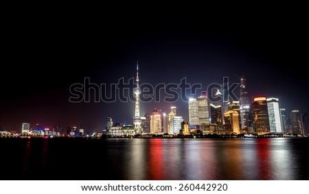 Night panorama of beautiful Shanghai city with bright lights, China - stock photo