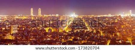 night panorama of city. Barcelona - stock photo