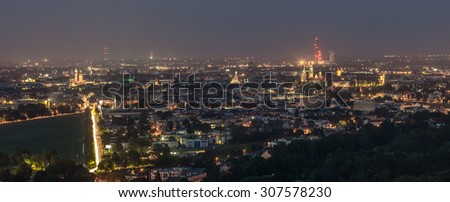 Night panorama of Krakow, Poland, from Kosciuszko Mound