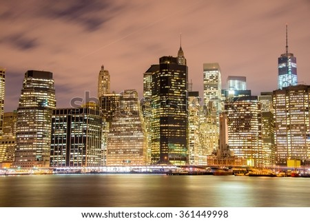 Night panorama of Manhattan in New York, USA - stock photo