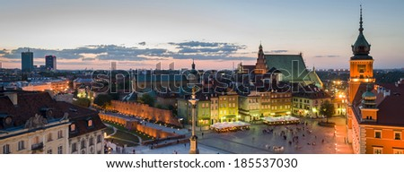 Night panorama of Old Town in Warsaw, Poland - stock photo