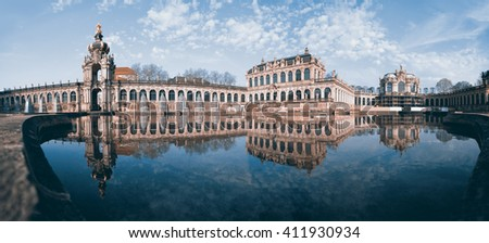 Night Panorama of Palace Zwinger. Dresden. Germany