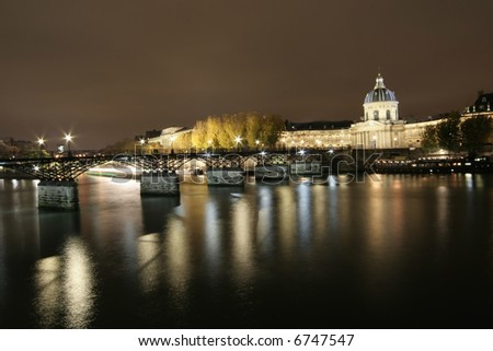 Night Panorama of Paris - view from Seine - stock photo