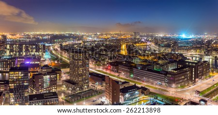 Night Panorama of Rotterdam's Harbor from the Euromast Tower, the Netherlands. - stock photo