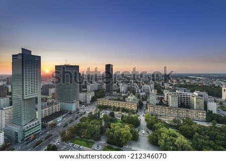 Night panorama of Warsaw city center, Poland - stock photo