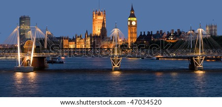 Night panorama photo of London River Thames - stock photo