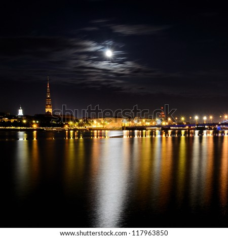night panoramic scene in Riga, Latvia - stock photo