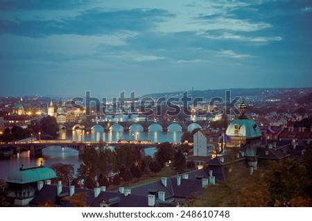 Night panoramic view of Prague. - stock photo