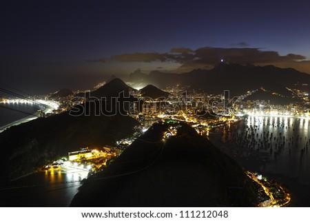 Night panoramic view of Rio de Janeiro - stock photo