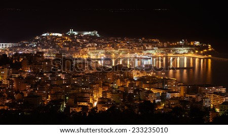 Night panoramic view of the central part of Kavala,a city in northern Greece - stock photo