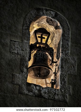 Night photography of a bell in a tower of a church