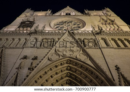 Night photography of Place Saint-Jean and St John cathedral , Lyon, France