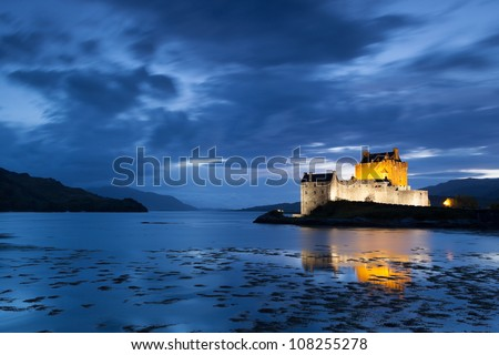 Night picture of Elian Donan Castle, Isle of Skye, Scotland - stock photo