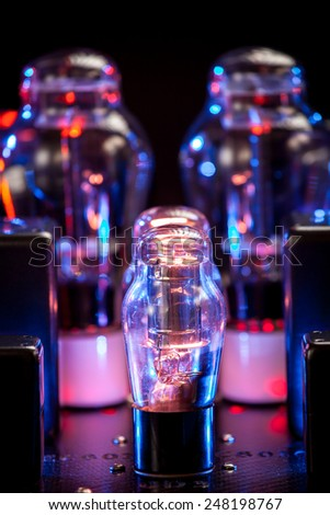 Night picture of thermionic tubes. Bokeh background
