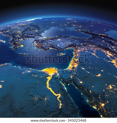 Night planet Earth with precise detailed relief and city lights illuminated by moonlight. Africa and Middle East. Elements of this image furnished by NASA - stock photo
