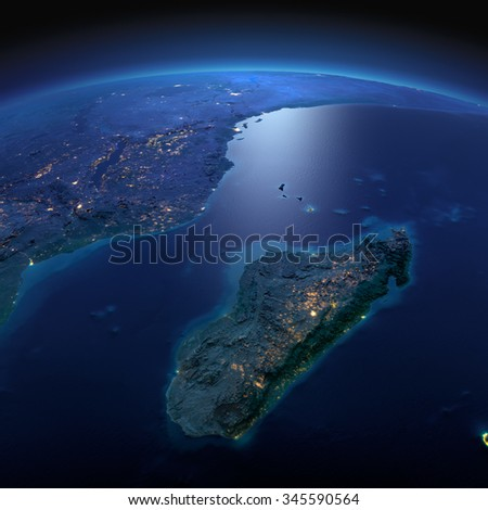 Night planet Earth with precise detailed relief and city lights illuminated by moonlight. Africa and Madagascar. Elements of this image furnished by NASA - stock photo