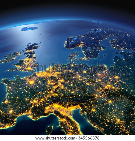 Night planet Earth with precise detailed relief and city lights illuminated by moonlight. Central Europe. Elements of this image furnished by NASA - stock photo