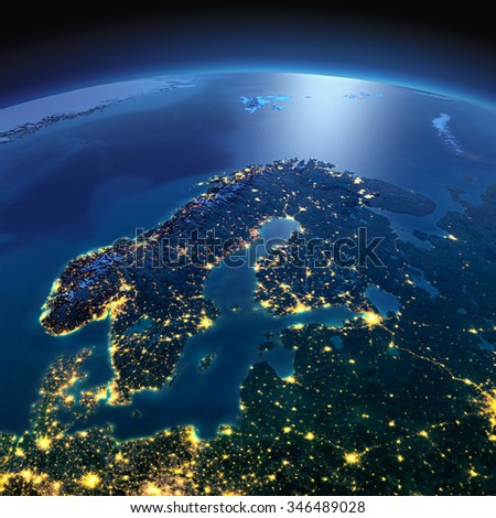 Night planet Earth with precise detailed relief and city lights illuminated by moonlight. Europe. Scandinavia. Elements of this image furnished by NASA - stock photo