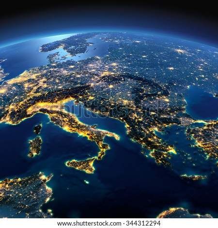 Night planet Earth with precise detailed relief and city lights illuminated by moonlight. Italy, Greece and the Mediterranean Sea. Elements of this image furnished by NASA