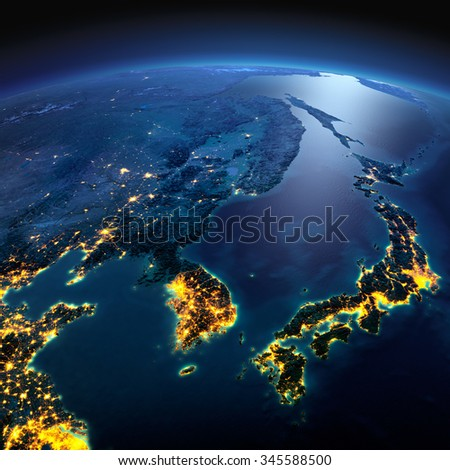 Night planet Earth with precise detailed relief and city lights illuminated by moonlight. Korea and Japan. Elements of this image furnished by NASA - stock photo