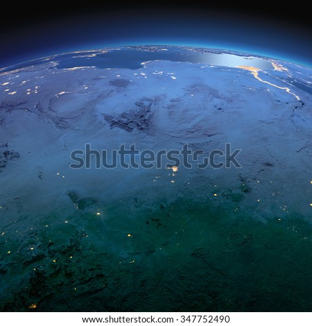 Night planet Earth with precise detailed relief and city lights illuminated by moonlight. North African countries - Chad, Libya, Egypt, Sudan. Elements of this image furnished by NASA - stock photo