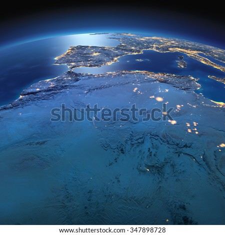 Night planet Earth with precise detailed relief and city lights illuminated by moonlight. North Africa. Algeria, Morocco and Tunisia. Elements of this image furnished by NASA - stock photo